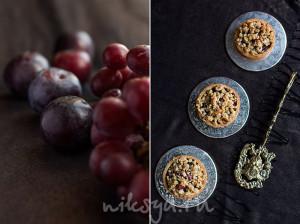 Тарталетки со сливами и виноградом