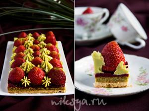 Tarte aux fraises a la cr?me de pistache, recette par Christophe Michalak.