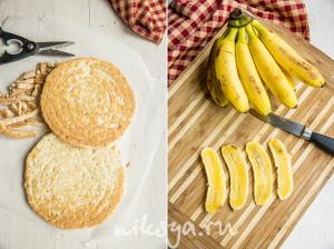 Бисквит, бананы