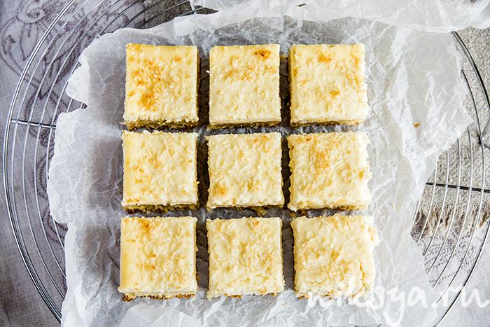 Лимонно кокосовые квадратики с рикоттой