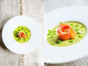 Крем-суп из зеленого горошка с копченой рыбой