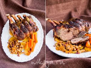 Каре теленка с грибами, картофелем и карамелизированной морковью