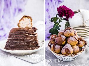 Шоколадный блинный торт с профитролями