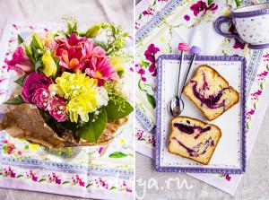 Мраморный кекс с ягодами к чаю