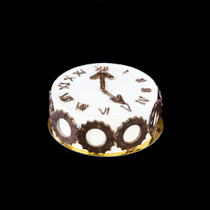 """Торт """"5 o'clock"""": фисташковый бисквит; японский бисквит; вишневое конфи с шоколадом; мусс с маракуйей. Шоколадный декор."""