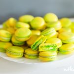 Macarons with white chocolate and lime and basil