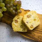 Tea cake with grapes and champagne